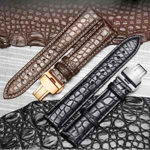 Image 1 - High end Crocodile Alligator Leather Watch Band Strap Replacement Deployment Double Push Buckle for Luxury Watches 20 22 24mm