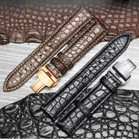 High-end Crocodile Alligator Leather Watch Band Strap Replacement Deployment Double-Push Buckle for Luxury Watches 20 22 24mm