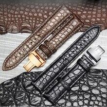 High end crocodilo couro pulseira de relógio de couro pulseira de substituição implantação duplo push fivela para relógios de luxo 20 22 24mm