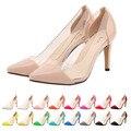 Moda Mulheres Bombas Slip-On 9 CM Saltos Finos Apontou Toe Sapatos de Couro de Patente Sapatos de Casamento/Escritório & carreira/Festa/Sapatos Casuais