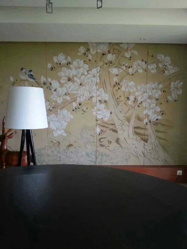 Hand-painted silk wallpaper painting Magnolia with Flower/bird hand painted wall paper TV/sofa/bedroom/living room wall covering iarts aha072962 hand painted thick texture of knife painting trees oil painting red 60 x 40cm
