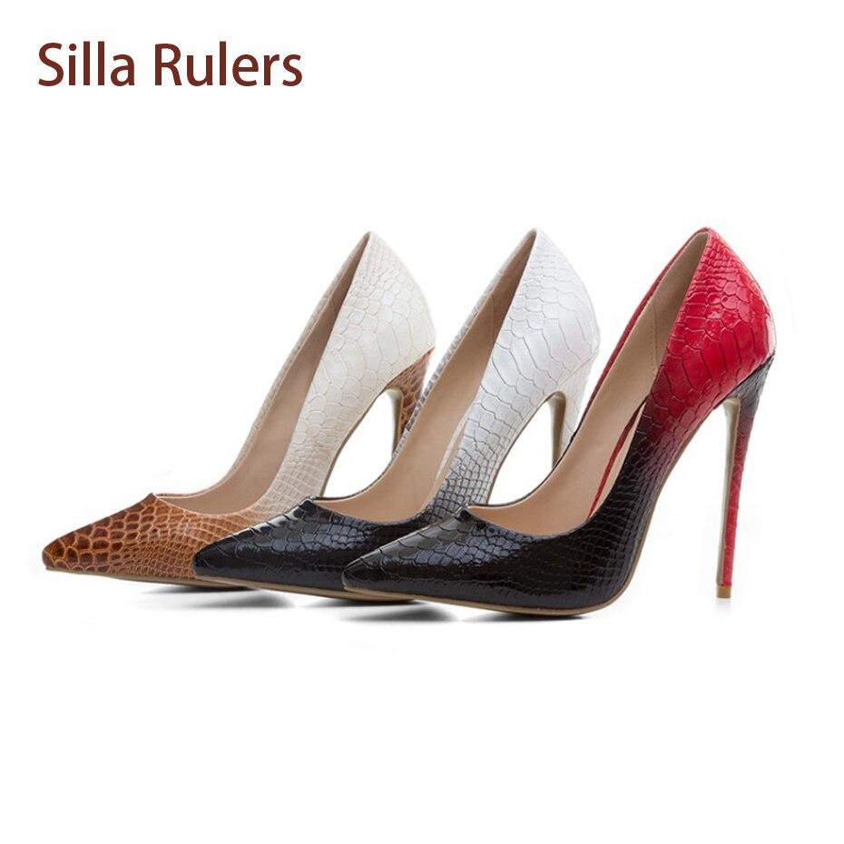 新羅定規ブランド女性シングルパンプス靴12センチ薄いヒール浅い口とんがりつま先ドレスシューズ高ヒール靴勾配色