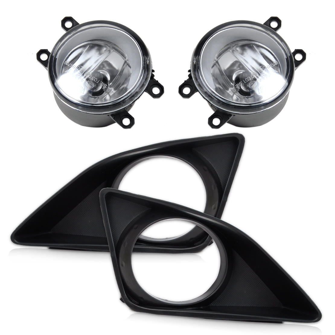 DWCX New 4pcs Black Front Right/Left Fog Light Lamp + Grille Cover Bezel for Toyota Corolla 2007 2008 2009 2010 Fast Shipping 1 set left right car styling front halogen fog lamps fog lights 81210 06052 for toyota rav4 2006 2007 2008 2009 2010 2011 12