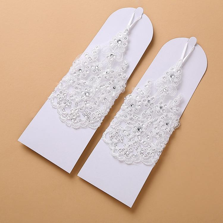 Fingerless Short Beaded Lace Wedding Gloves