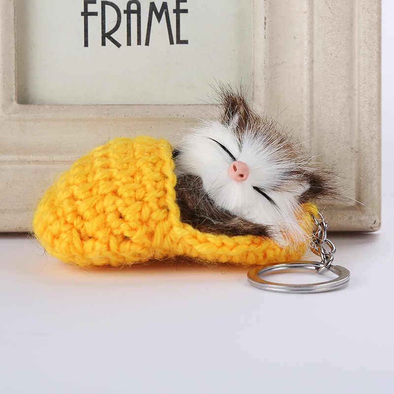 Gato bonito Do Sono Chaveiros Para As Mulheres Meninas Fluffy Faux Pele De Coelho Pompom Tricô Sapato Gatinho Chaveiro da Chave Do Carro Anéis llavero
