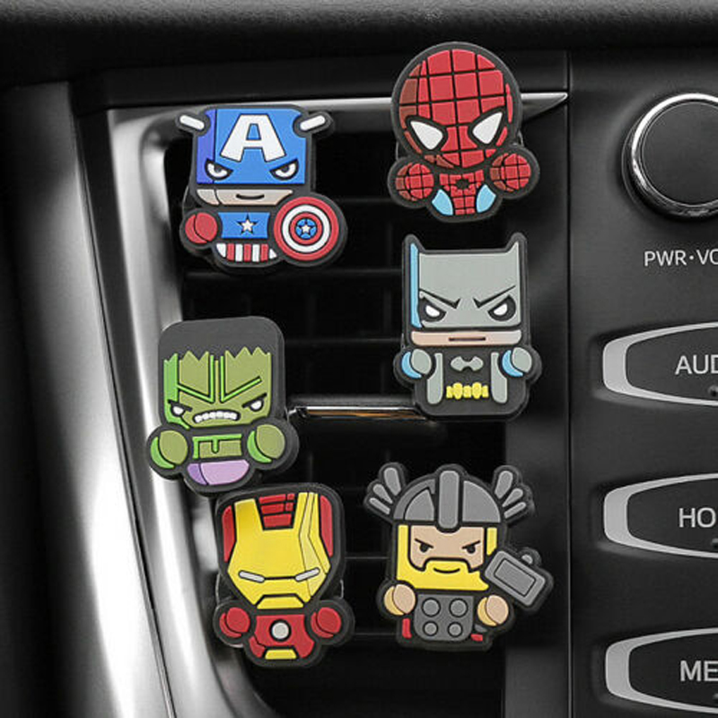 Image 2 - 2Pcs/Set Cartoon Air Freshener Styling perfumes The Avengers Marvel Style Star Wars Iron Man Auto Air Condition Vent Outlet Clip-in Air Freshener from Automobiles & Motorcycles