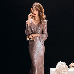 Image 4 - ללכת לידך ערב שמלות לנשים רוז זהב בת ים סקסי עמוק V צוואר נצנצים בלינג ארוך שרוולים לטאטא רכבת שמלות נשף