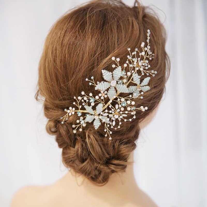 d2ceb3466 Light Blue Color Crystal Beads Bridal Hair Accessories Wedding Hair Jewelry  Headdress Girl's Tiaras Headpiece Ornaments