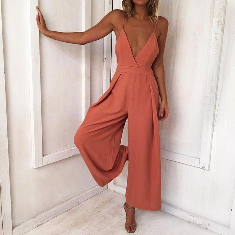 2018 Autumn and Winter Women New Sleeveless Sexy deep V Neck solid color Backless Strap Casual Elegant Jumpsuit