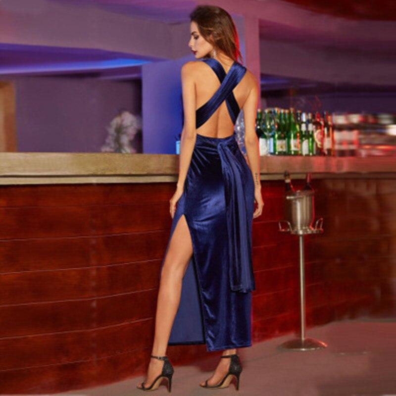 S-XL Sexy Bandage Dress Sleeveless Backless Velvet Women Evening Party Club Hang Neck Maternity Dresses Long Black Free Shipping
