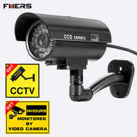 FUERS Fake Surveillance Camera Model Simulation Outdoor Waterproof Dummy CCTV With Flashing LED Light for Home Safety