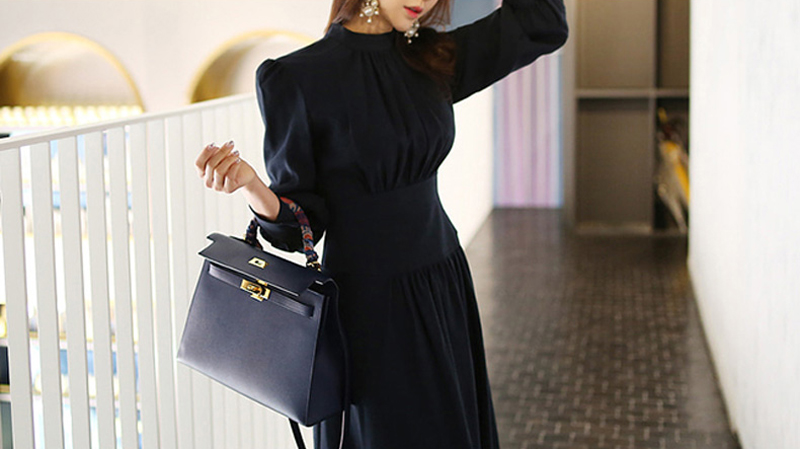 Office Ladies Stand Collar Lantern Sleeve Women Dress Elegant Slim Waist A-line Ruched Female Long Dress Party Vestidos femme 10