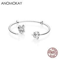 Anomokay New 925 Sterling Silver Mickey Minnie Thread Open Cuff Pandora Bangle & Bracelet Romantic Couple Luxury Silver Bangles
