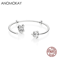 Anomokay New 925 Sterling Silver Mickey Minnie Thread Open Cuff Pan Bangle & Bracelet Romantic Couple Luxury Silver Bangles