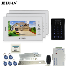 "JERUAN 7"" LCD video doorphone intercom system kit 3 monitors RFID waterproof touch key password keypad Camera + remote control"