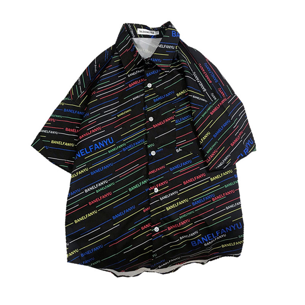 Womail 2019 Mens Summer Shirts Casual Creative Letter Stripe Beach Blouse Men Shirt Short Sleeve Casual Summer Fashion Loose Рубашка