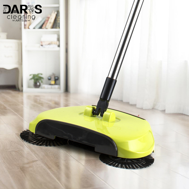 Hand Push Automatic Sweeper Stainless Steel Spin Broom Mop Cloth Floor Cleaning