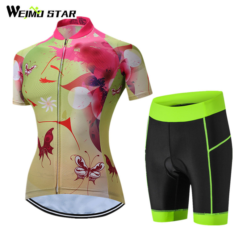 Weimostar New Cool Style Short Sleeve Cycling Jersey Sets Women Breathable Bicycle Cycling Clothing MTB Road Bike Jersey Clothes