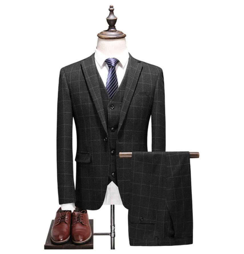 2019 New Style Mens Wedding Suits Casual Plaid Male High Quality Suit Men 39 s Tailored Business Party Suits Jacket Vest Pants in Suits from Men 39 s Clothing