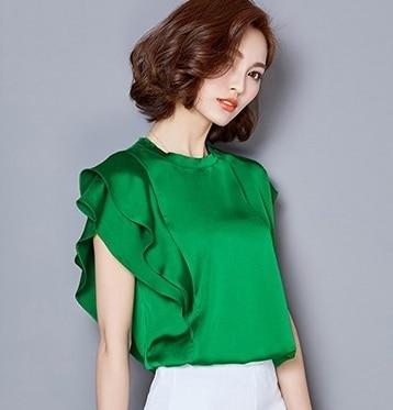 2017 short sleeve ruffles sleeve white satin blouses women plus size silk shirt women big size satin silk blouse body shirt top