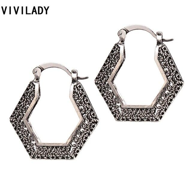 ee0ebbe0f VIVILADY Trendy Geometric Hoop Earrings Women Retro Silver Color Braided  Metal Wire Boho Jewelry Bijoux 3D Style Brinco Gifts