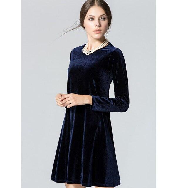 Online Shop Long Sleeve Women Velvet Dresses Elegant Spring Winter ...