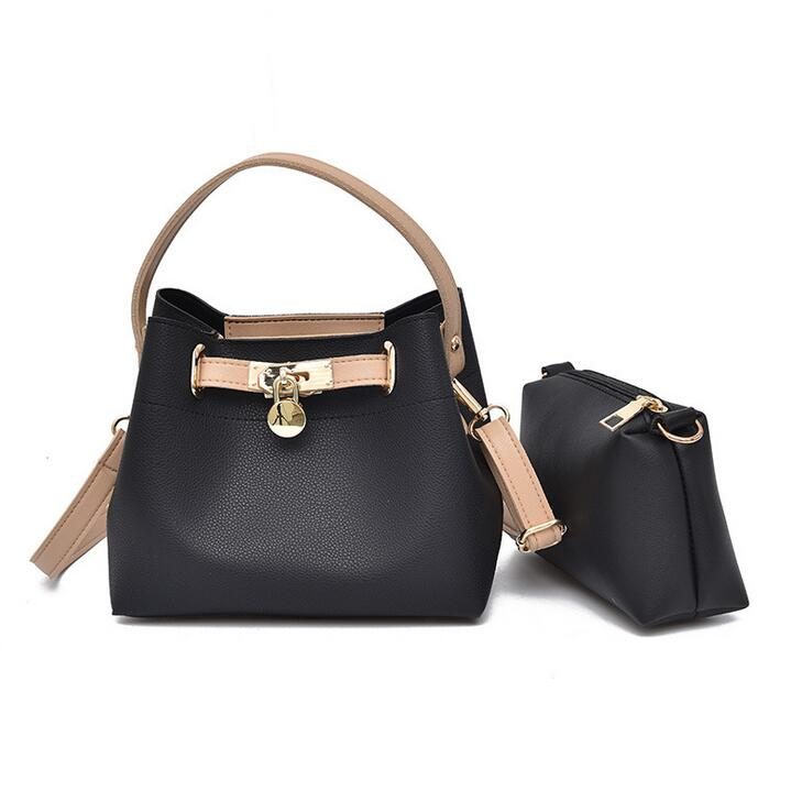 2 Bags European Style Lady Tote Bag   High Qquality PU Leather Ladies Bucket Hit Color Shoulder Bag