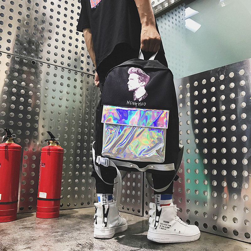 Laser literary men and women trend big bag Meng 2018 Korean version of the new casual backpackLaser literary men and women trend big bag Meng 2018 Korean version of the new casual backpack