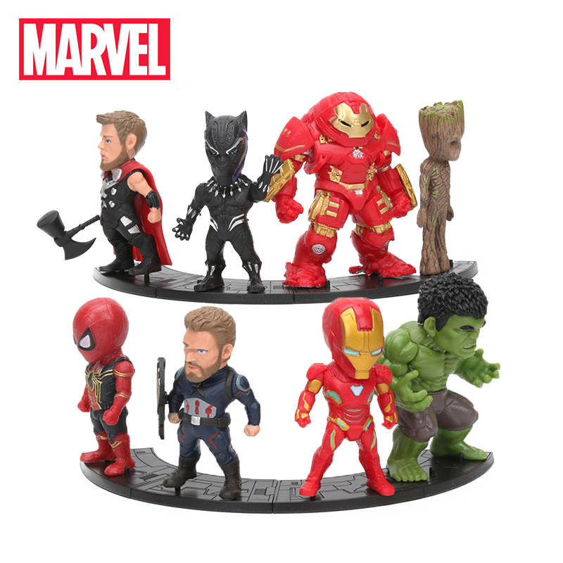 8pcs/set Marvel Toys 8-10cm Avengers 3 Thanos Ironman Spiderman Captain Hulkbuster Black Panther Groot Pvc Action Figures Model