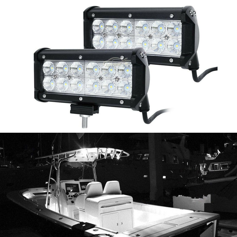 2pcs 12V 36W White Marine Spreader Lights LED Light Deck Mast lights for boat Trailer Interior
