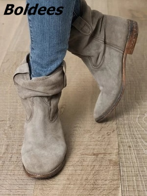 Women Ankle Boots Suede Autumn Shoes Flat Nubuck Leather Retro Distressed Biker Boots Women Motorcycle Boots Shoes Cool Boots
