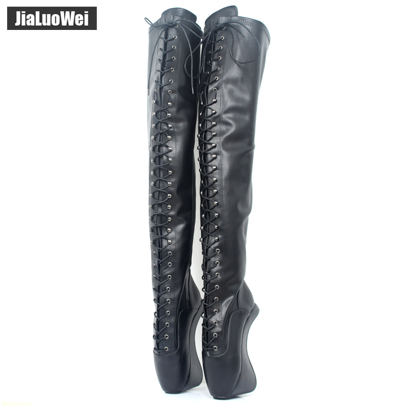 Extreme High Heel 18cm/7'' Heel lace up Patent leather Ballet Boots Unisex Hoof Heelless Sexy Fetish Thigh Over-the-Knee Boots jialuowei ballet boots lace up 7 18cm wedge high heel buckle strap pu leather fashion sexy fetish over the knee long boots