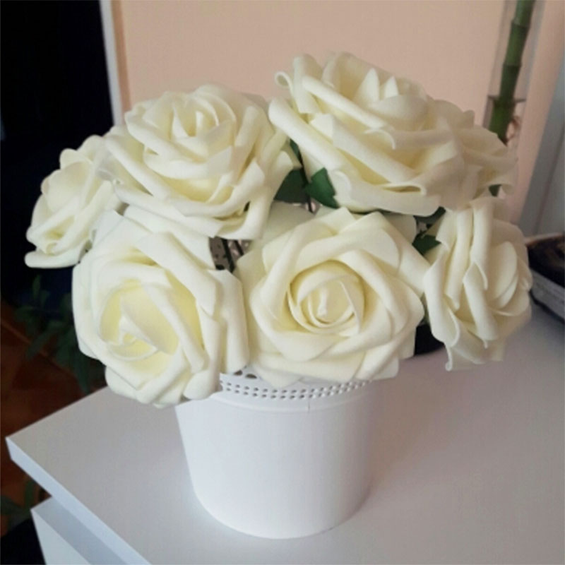 5 Pieces/lot 8CM PE Foam Artificial Rose Flowers Bride Bouquet Wedding Home Decor Rose DIY Scrapbooking Supplies 75Z fake rose flowers