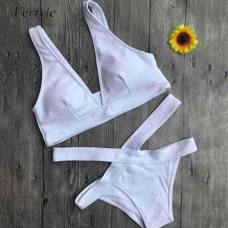 Vertvie 2017 Women Brand Bikini Set White Bandage Sexy Hollow Out Swimwear Swimsuit Two Piece Female Beach Bathing Suit Monokini vertvie sexy solid bangdage bikini set green hollow out push up braided rope swimsuit women 2017 summer beach party bathing suit