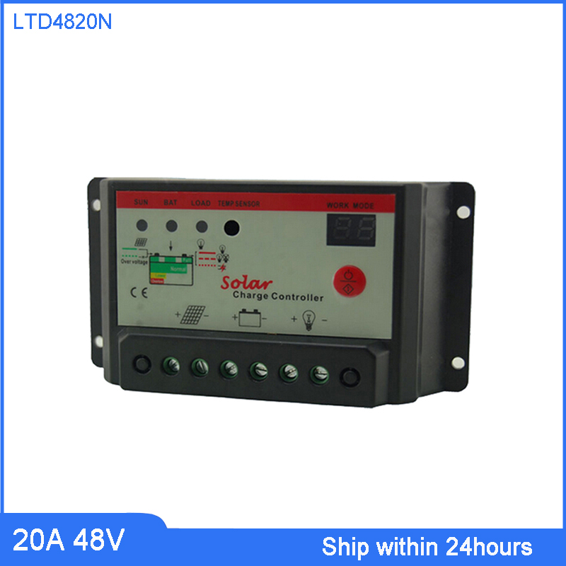 CE Certificate 20A Solar Charge Controller 48V Solar PV Battery Charge Discharge Solar Regulator with Light & Timer Control
