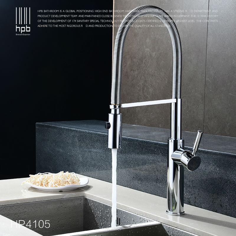 HPB Pull Out Down Rotary Kitchen Faucet Mixer Tap Deck Mounted Sink Hot Cold Water taps Brass Brushed Nickel Chrome HP4105 kitchen chrome plated brass faucet single handle pull out pull down sink mixer hot and cold tap modern design