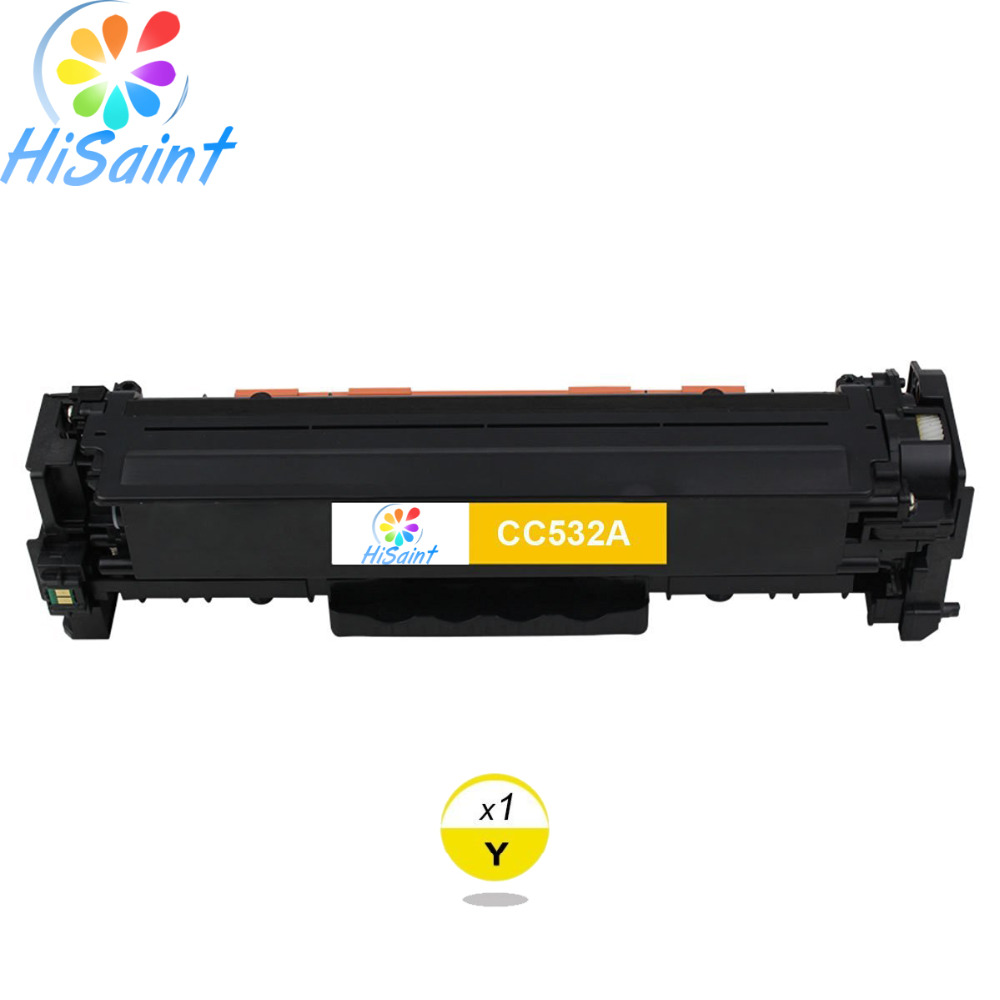 ФОТО Hisaint Listing Hot Sale Compatible Toner Cartridge Replacement for HP CC532A 304A (Yellow 1-Pack) Special counter Free shipping
