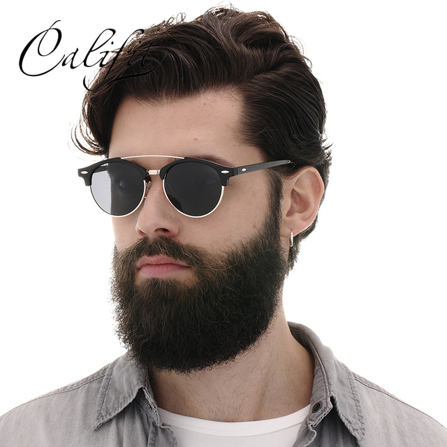 d05e54398 CALIFIT Retro Round Black Mirror Sunglasses Women Polarized High Quality  Classic Double Bridge Sunglasses Men Rivet Oculos Male