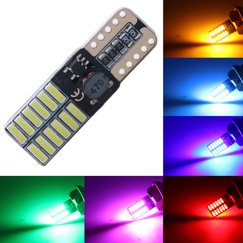 Car LED T10 194 W5W Canbus 24 SMD 4014 No Error T10 Led Light Bulb Parking Auto Lamps Reading Lights 12V white yellow blue 10pcs 2014 news car auto led t10 194 w5w canbus 6 smd 5630 led light bulb no error led light white