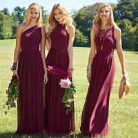 Burgundy Bridesmaid Dresses Chiffon Boho 3 Kinds Neckline Floor Length Long Junior Maid of Honor Wedding Party Guest Gown 2018