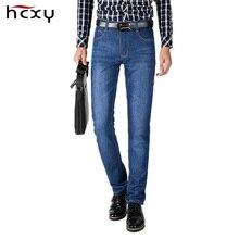 HCXY Marca 2016 Novo Inverno Chegada dos homens calças de Brim dos homens Denim calças Calças Masculino Tecido de Algodão Macio Em Linha Reta Slim Fit Lavado 28-38