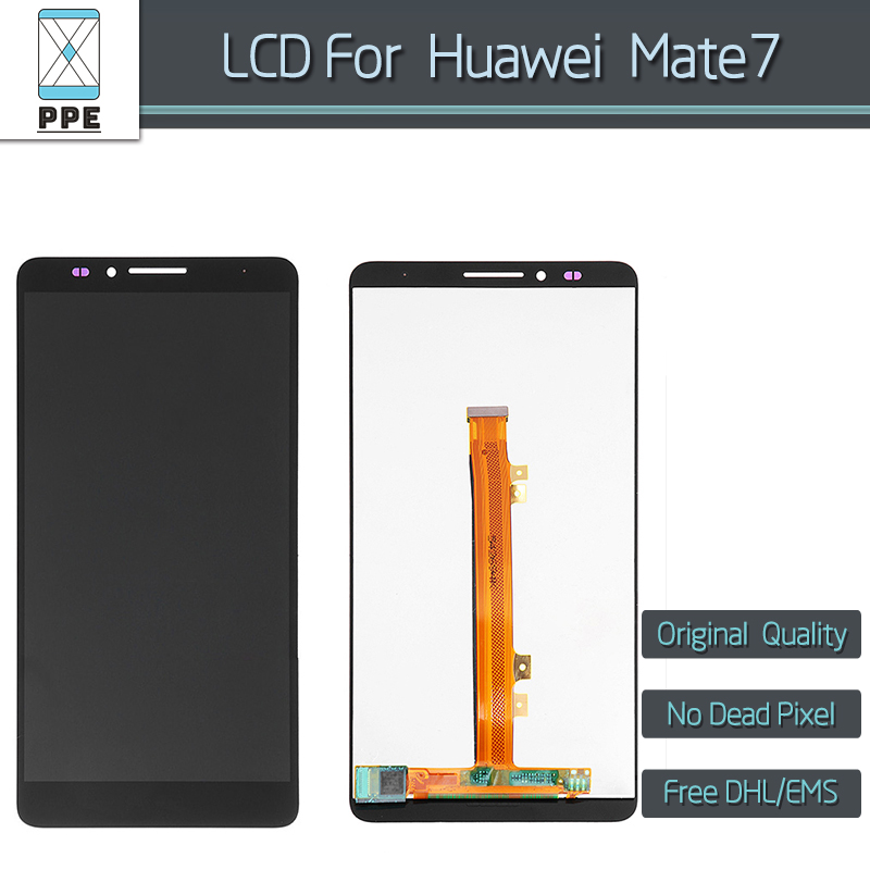 5 pcs/lot Original LCD for Huawei Mate 7 LCD display touch screen digitizer assembly black white gold 6 pantalla free shipping