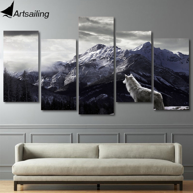 US $10.0 40% OFF HD 5 Pieces Printed Snow Mountain Plateau Wolf Paintings  Canvas Living Room Wall Art Decor Print Poster Picture Canvas ny 4083-in ...