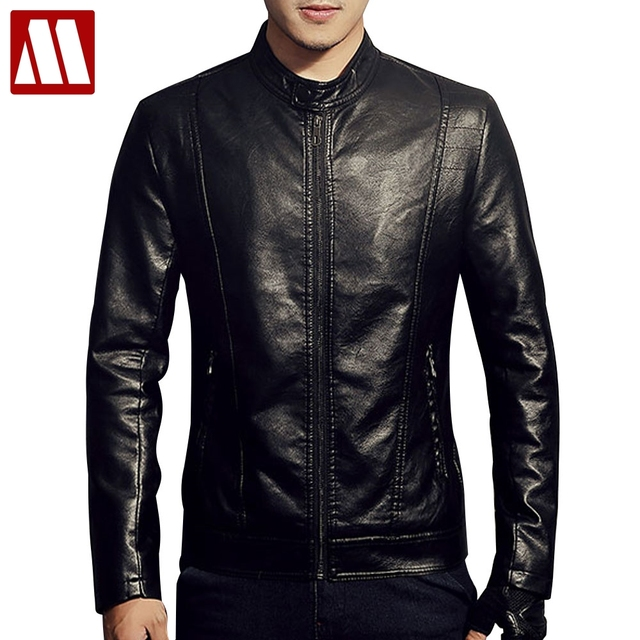 3fbf30a4092 New 2018 PU Leather Jacket Men Black Red Brown Solid Mens Faux Fur Coats  Trend Slim