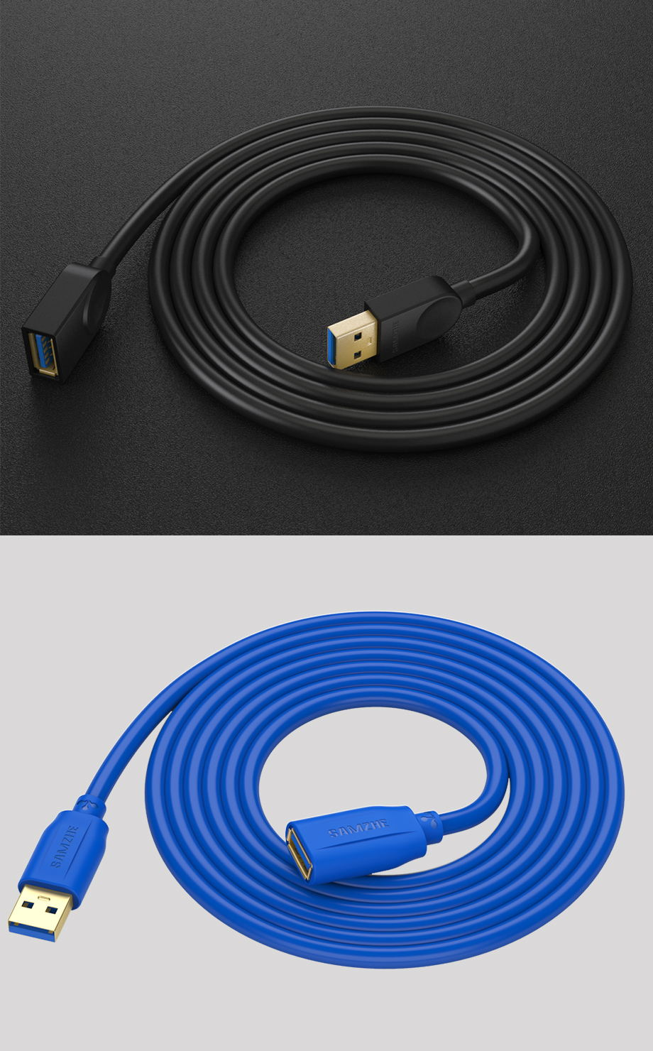 HTB1oQ4lXQKWBuNjy1zjq6AOypXal SAMZHE USB 3.0/2.0 Extension Cable Flat Extend Cable AM/AF 0.5m/1m/1.5m/2m/3m For PC TV PS4 Computer Laptop Extender