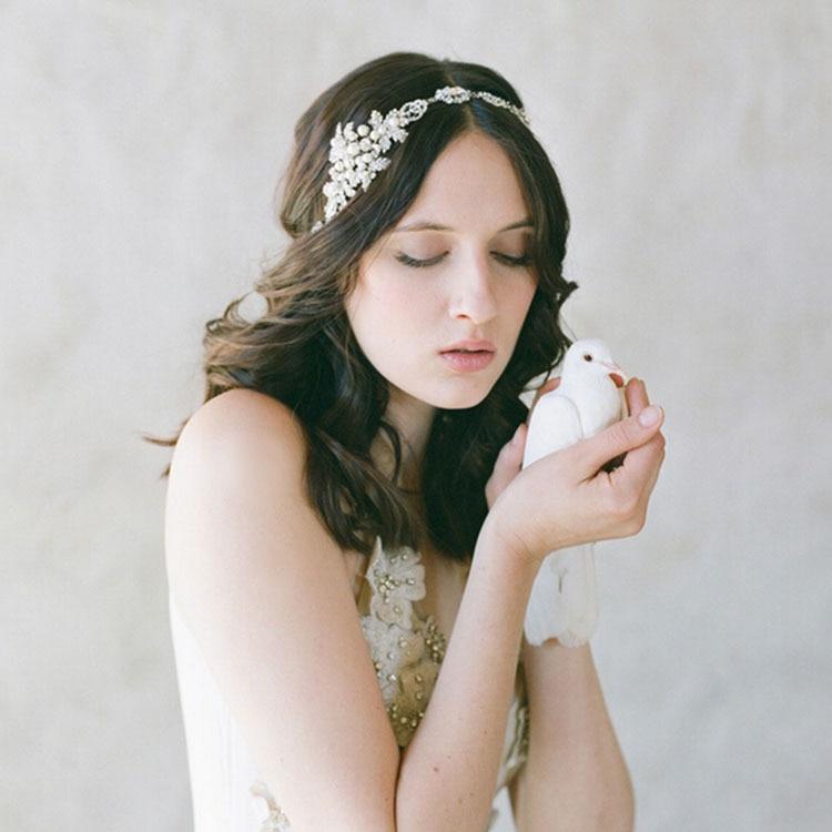 Fashion Head Chain Bridal Tiara Pearl Headband Wedding Hair Jewelry Accessories Bridal Headpiece Bijoux De Tete Cheveux