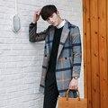 Versión coreana de la larga código cazadora A Cuadros informal Británico masculino material de lana abrigo de invierno masculina masculina delgada cazadora