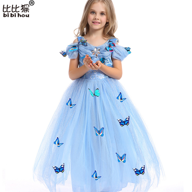 Vestidos de Cinderela Traje da Princesa Vestido da menina Vestidos de Festa Meninas Natal Roupas Borboleta Fresco Vestido Para Adolescentes