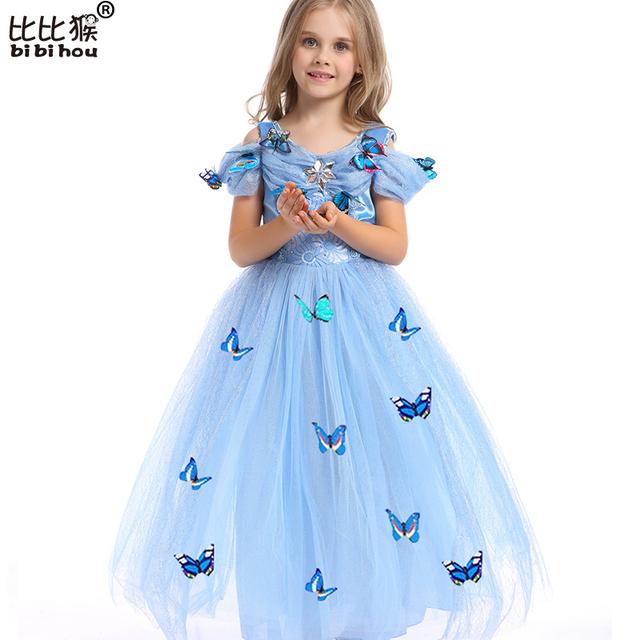 Vestidos de niña Disfraz Cenicienta Vestido de Partido de La Princesa Vestidos Niñas Ropa de Navidad de La Mariposa Fresca Para Los Adolescentes
