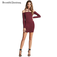 Vestido Spring Summer Dress Women European American Fashion Slim Sexy A Word Collar Shoulder Strap Tether